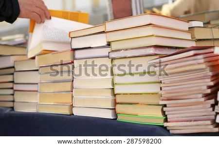 books on store shelves - stock photo