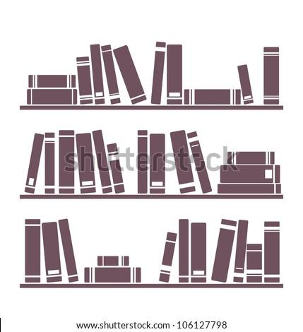 Books On Shelves Simply Retro Vector Stock Vector 101205190