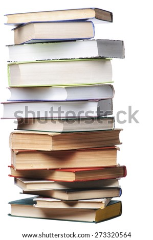 Books on the table isolated on white - stock photo