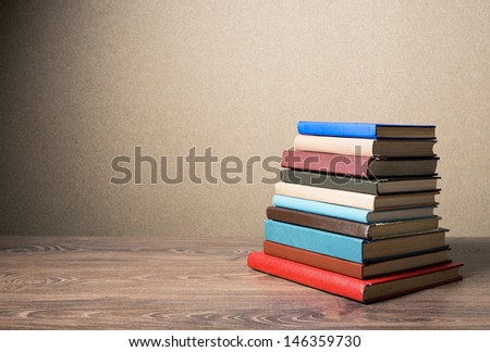 Books on the table. No labels. - stock photo