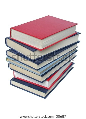 Books on white background.