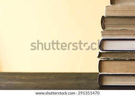 Books On Wooden Shelf./ Books On Wooden Shelf - stock photo