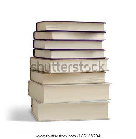 Books pile isolated on white background