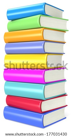 Books. Pile of Colorful Books. - stock photo