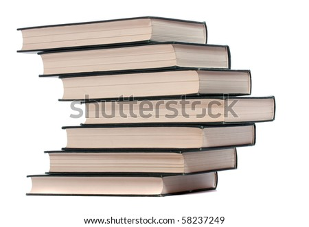 Books pile on white background.