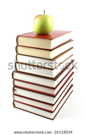 books pyramid with green apple