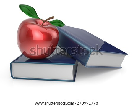 Books red apple textbook education studying reading learning school college knowledge wisdom idea icon concept. 3d render isolated on white - stock photo