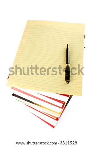 Books Stack and letter paper with white background