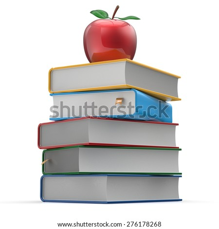 Books stack colorful red apple textbooks education studying reading learning school college knowledge literature idea icon concept. 3d render isolated on white - stock photo