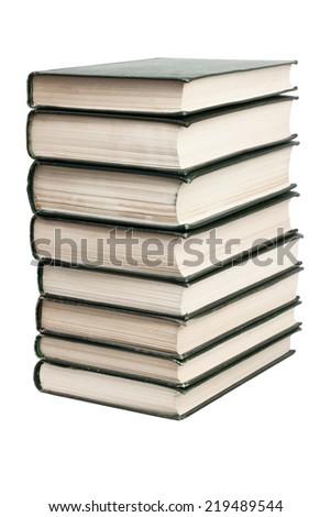 Books stack isolated on white background - stock photo
