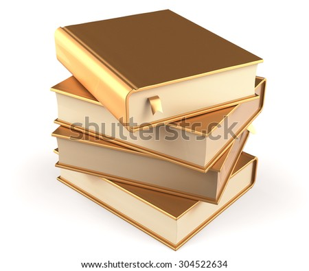 Books stack of book blank golden covers gold yellow textbooks bookmarks. School studying information content learn question answer icon concept. 3d render isolated on white background - stock photo