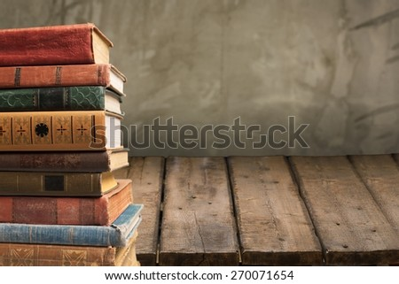 Books. Stack of old books, copyspace for your text - stock photo