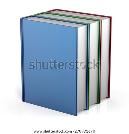 Books stack three 3 colorful blank cover no labels. School college learning information content icon concept. 3d render isolated on white background - stock photo