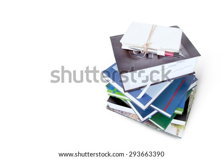 Books stacking top view isolated on white background. This has clipping path. - stock photo