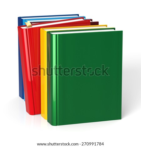 Books textbook selecting red blank covers row colorful choice template. School college studying grab bookmark education content icon concept. 3d render isolated on white background - stock photo
