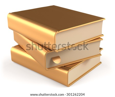 Books textbook stack golden three 3 blank yellow gold and bookmark. School studying information content learn icon luxury concept. 3d render isolated on white background - stock photo