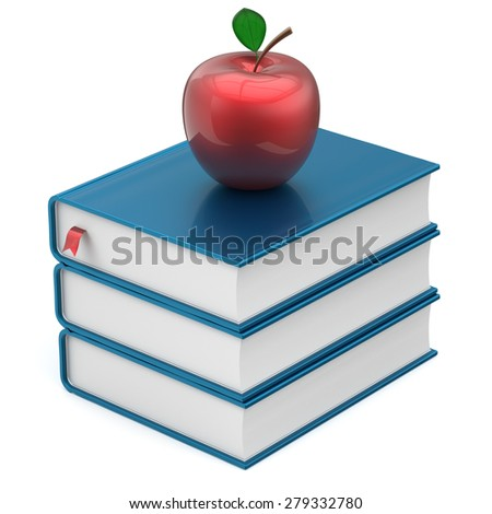 Books textbooks stack blue apple red education studying reading learning school college knowledge literature idea icon concept. 3d render isolated on white - stock photo