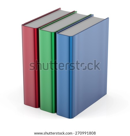 Books three blank cover template standing textbook red green blue. School college learning information content icon concept. 3d render isolated on white background - stock photo
