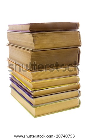 Books tower isolated on white