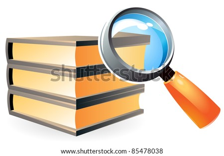 Books under magnifying glass. Raster version. Vector version is also available.