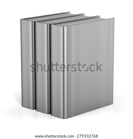 Books white blank empty cover standing 3 three textbook workbook cookbook template. School college learning information content icon concept. 3d render isolated - stock photo