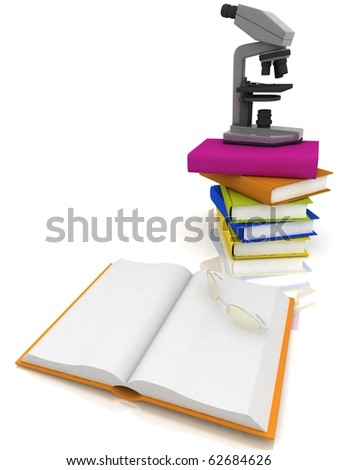 books with a microscope and glasses on white background - stock photo