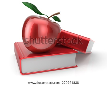 Books with apple red textbook education studying reading learning school college knowledge wisdom idea icon concept. 3d render isolated on white - stock photo