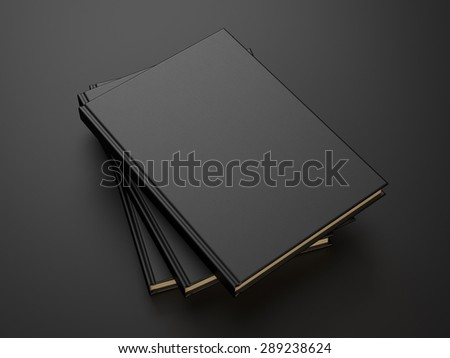 books with black blank cover. 3d render - stock photo