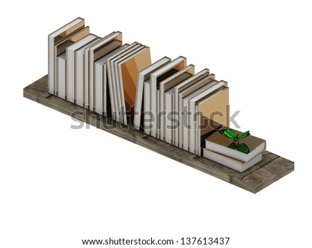 Books with bright gold cover on the shelf and green butterfly
