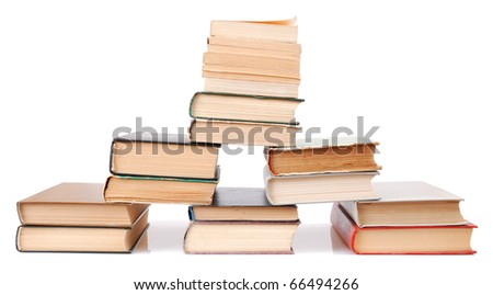 Books with text on pages on the white background