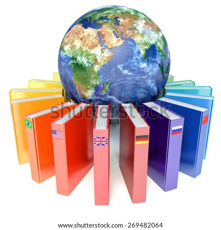 Books with the flags of the countries of the Earth. E-learning concept - stock photo