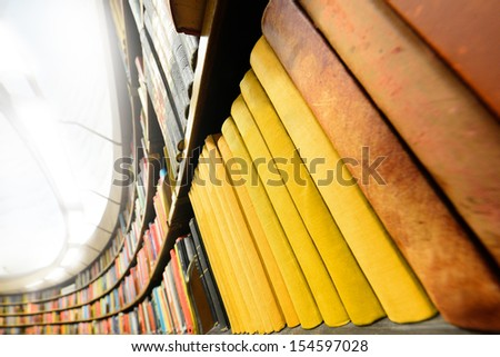Bookshelf, bright light - stock photo