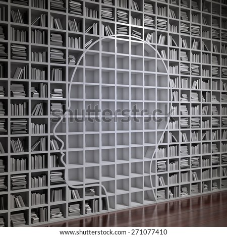 Bookshelf forming a head silhouette - stock photo