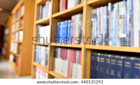 Bookshelf in the library,the concept blur