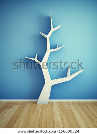 Bookshelf on wall in shape of tree - stock photo