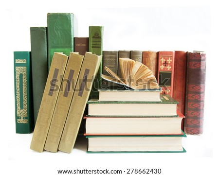 Bookshelf with antique book isolated on white background  - stock photo