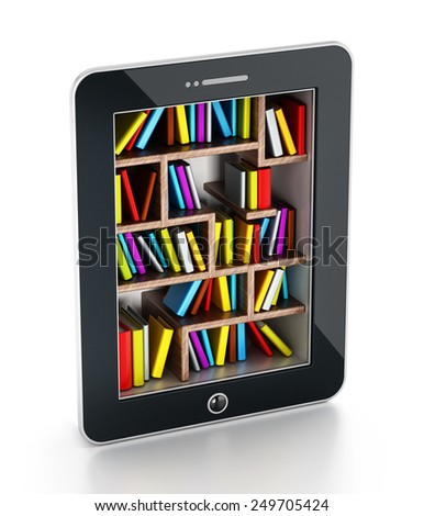 Bookshelf with multi-colored books in tablet computer - stock photo
