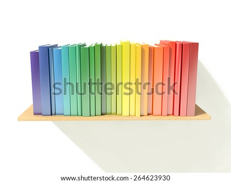 bookshelf with rainbow color hardcover books isolated on white background - stock photo