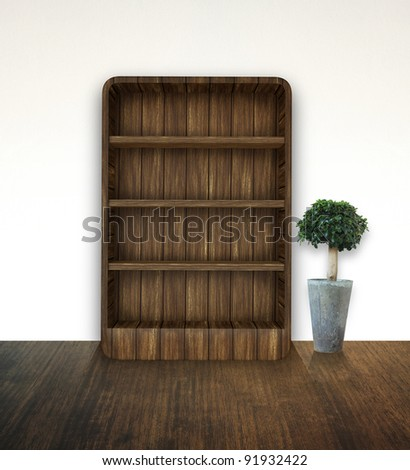 bookshelf with tree - stock photo