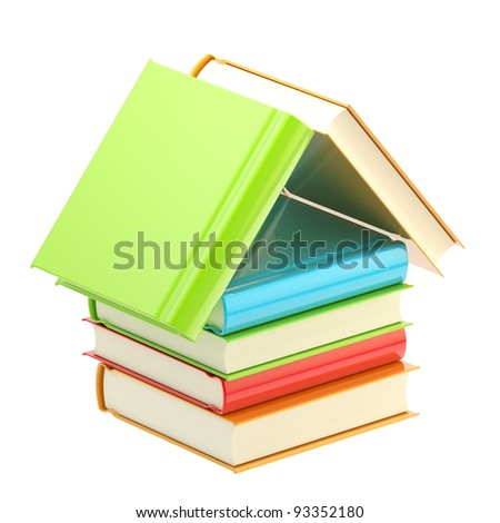 Bookstore emblem as a house made of colorful glossy books isolated on white