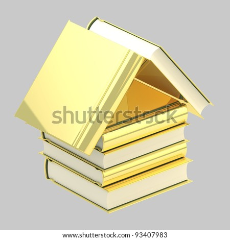 Bookstore emblem as a house made of golden books isolated on grey