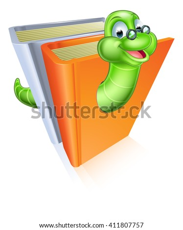 Bookworm cartoon mascot wearing glasses coming out of books