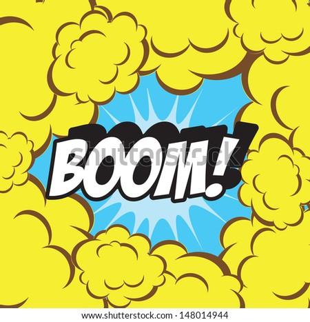 Boom! - Comic Speech Bubble, Cartoon Background clouds retro  - stock photo
