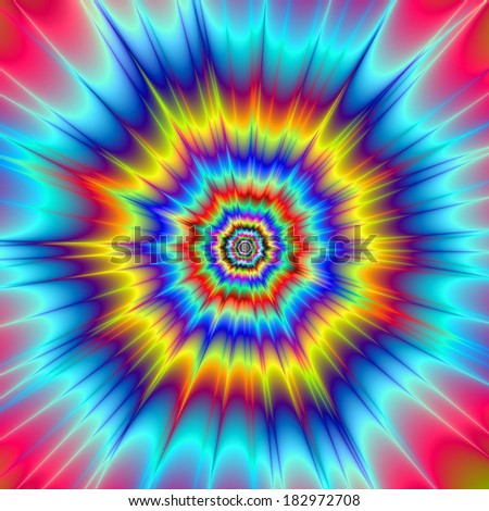 Boom! / Digital abstract fractal image with an optically challenging color explosion design in blue, yellow, red and pink.