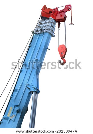 Boom of construction crane for heavy lifting isolated cut on white background. This has clipping path.    - stock photo