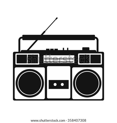 Boombox simple icon isolated on white background - stock photo