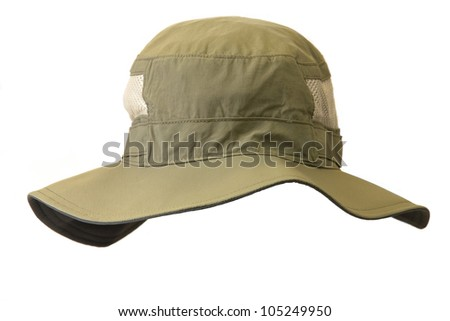 Boonie hat isolated on a white background. - stock photo