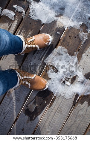 Boot and wood