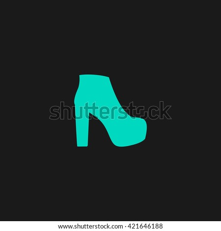 boot Flat icon on black background. Simple symbol - stock photo