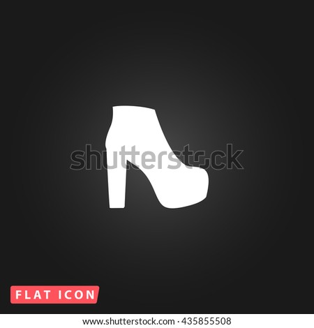 boot White flat icon on dark background. Simple illustration pictogram - stock photo